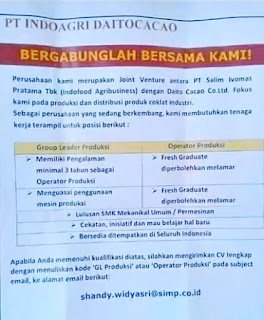 Lowongan kerja pt indoagri daitocacao purwakarta terbaru 2019