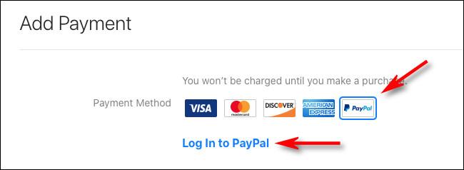"""حدد """"PayPal"""" ، ثم انقر على """"تسجيل الدخول إلى Paypal"""""""