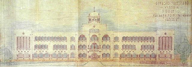 ID 382 - Projeto do Ginásio Salesiano, Vitória, à avenida Vitória, Forte de São João, 1945.