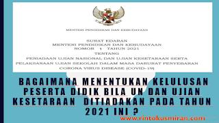Bagaimana Menentukan Kelulusan Peserta Didik Bila UN dan Ujian Kesetaraan  Ditiadakan Pada Tahun 2021 Ini ?
