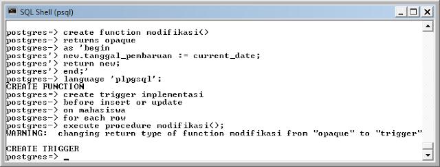 Kelas Informatika - Membuat Fungsi Trigger PostgreSQL