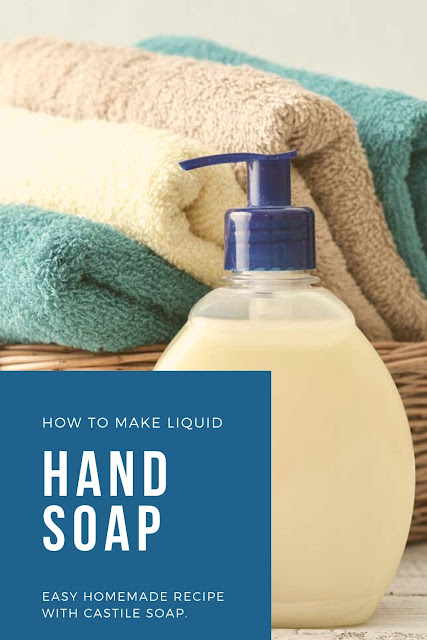 How to make liquid hand soap with castile soap and essential oils. This DIY liquid hand soap is easy to make at home and can save you a lot of money.  You can use your favorite essential oil or make DIY thieves oil hand soap. Add a carrier oil like grape seed oil or sweet almond oil for a natural DIY moisturizing hand soap. Make homemade liquid soap for less than you can buy it for! #liquidhandsoap #soap #castilesoap