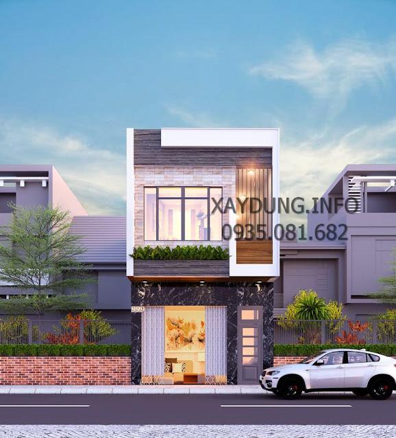 mẫu nhà phố đẹp 2 tầng phong cách hiện đại