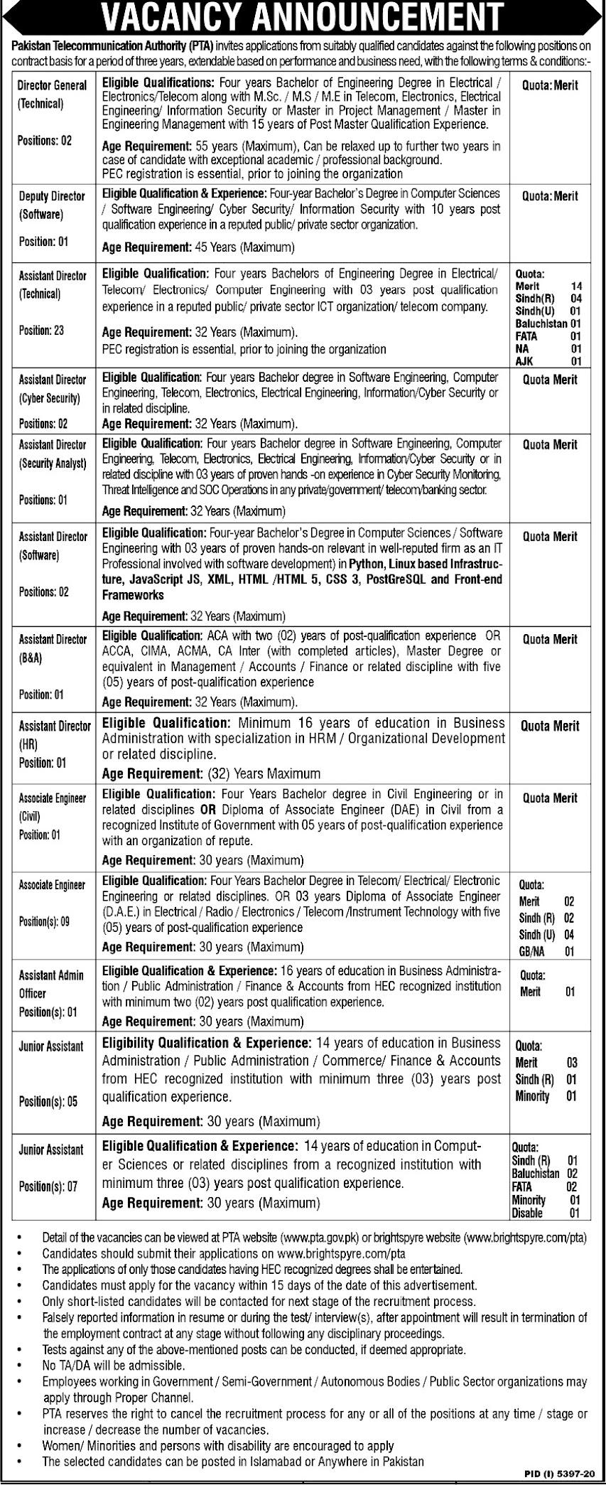 Latest Jobs in Pakistan  Telecommunication Authority PTA 2021-Apply online