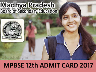 MPBSE 12th Admit Card 2017, MP Board HSSC Admit Card 2017