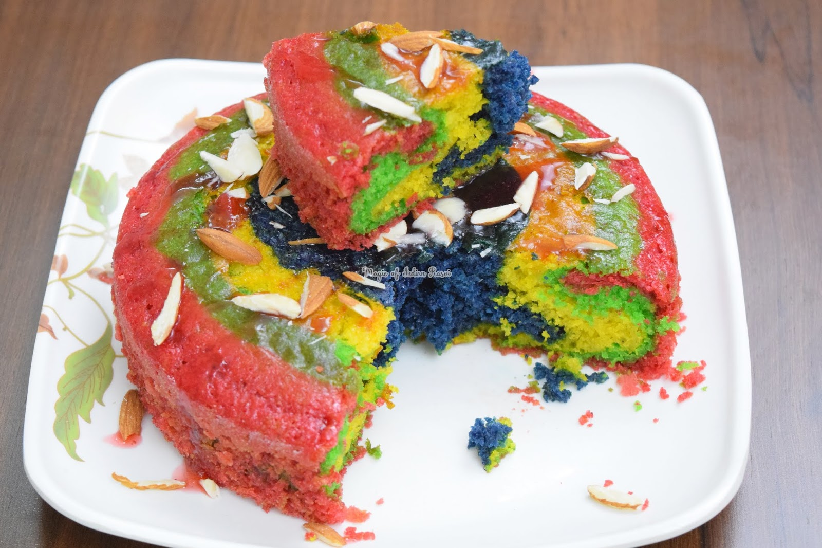 Eggless Colorful Thandai Cake Recipe - No Butter - No Condensed Milk  -ठंडाई केक एग्ग्लेस - होली स्पेशल  - Priya R - Magic of Indian Rasoi