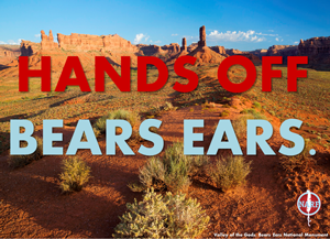Photo of Bears Ears with text: Hands Off Bears Ears