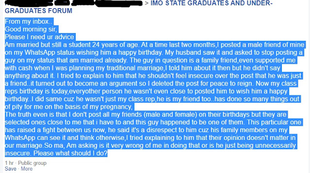 'My Husband Complains Anytime I Post A Guy On My Status' - 24-years Old Nigerian Lady