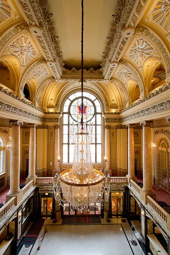 Chicago theater lobby crystal chandelier arches architecture