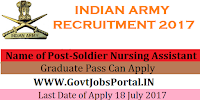 Indian Army Recruitment 2017– Soldier Technical, Soldier Nursing Assistant