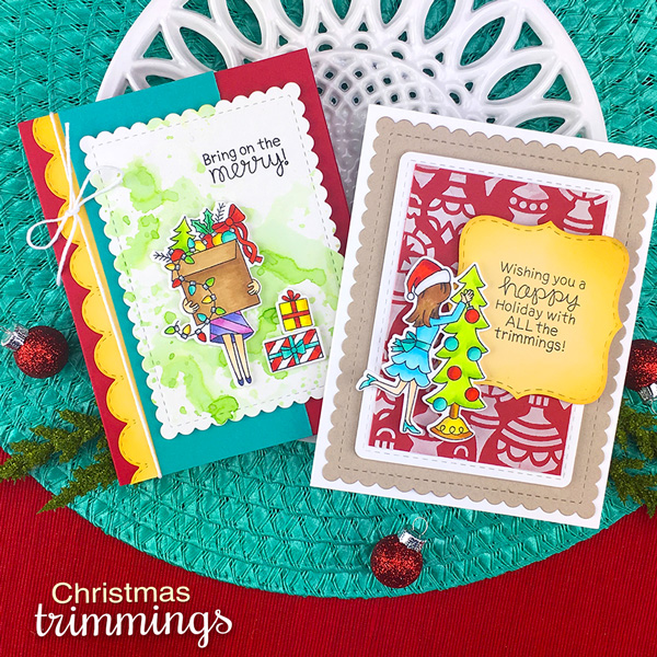 Holiday Decorating Cards by Jennifer Jackson | Christmas Trimmings Stamp Set and Die Set by Newton's Nook Designs #newtonsnook #handmade