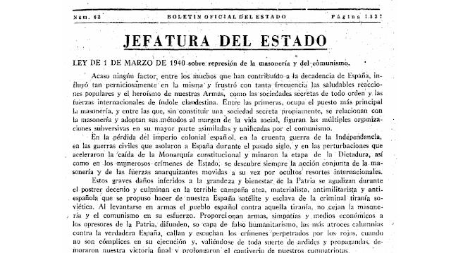 Un aniversario de la represión franquista: el caso de la Masonería