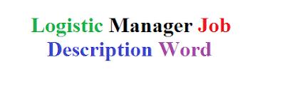 Logistic Manager Job Description Word