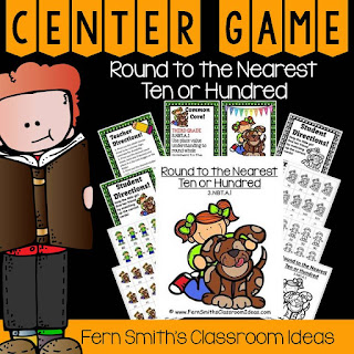 Fern Smith's Classroom Ideas Rounding to the Nearest Ten or Hundred Center Game