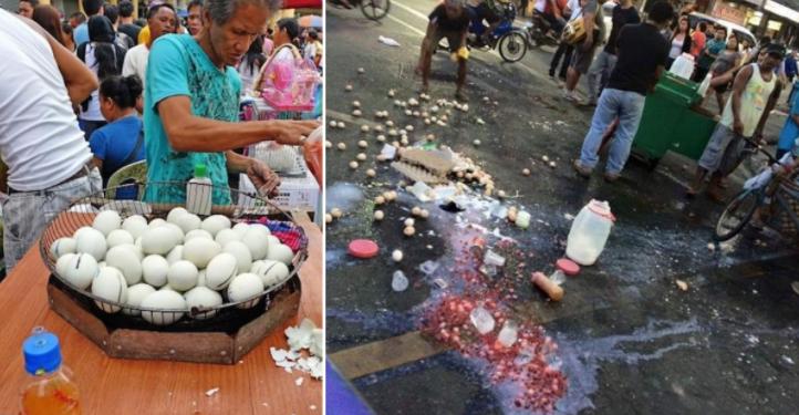 Pinagtatapon ang paninda ng isang Balut Vendor, Nagkalat sa kalsada matapos kumpiskahin ang kanyang kariton.