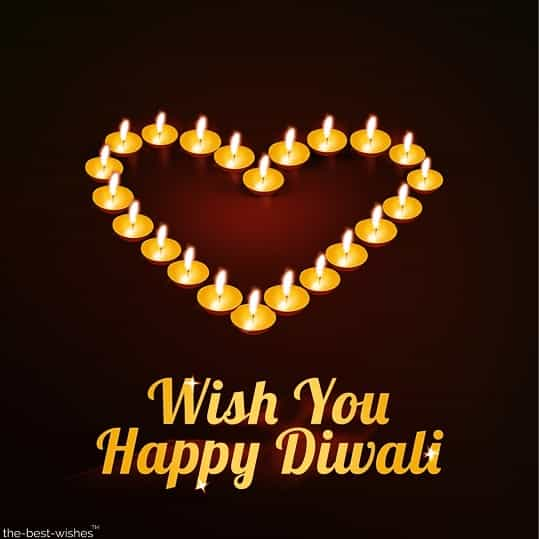 wish you happy diwali with heart diyas for love ones
