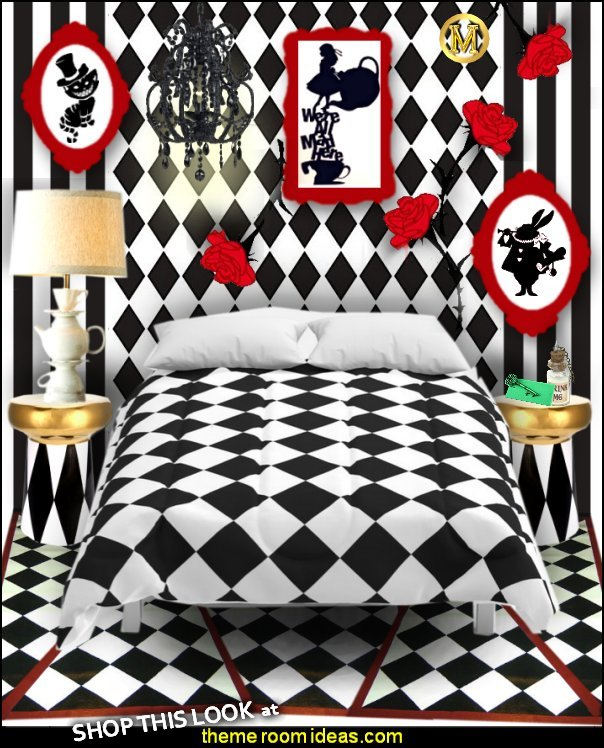 alice in wonderland red black white bedroom decor  alice in wonderland comforter Alice in wonderland wall decals Harlequin decor diamond design wall decorating