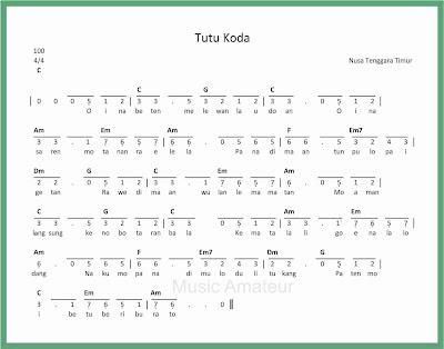 not angka lagu tutu koda