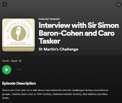 Black background image with white writing introducing the podcast from St. Martin's Challenge talking to Caro Tasker and Sir Simon Baron-Cohen