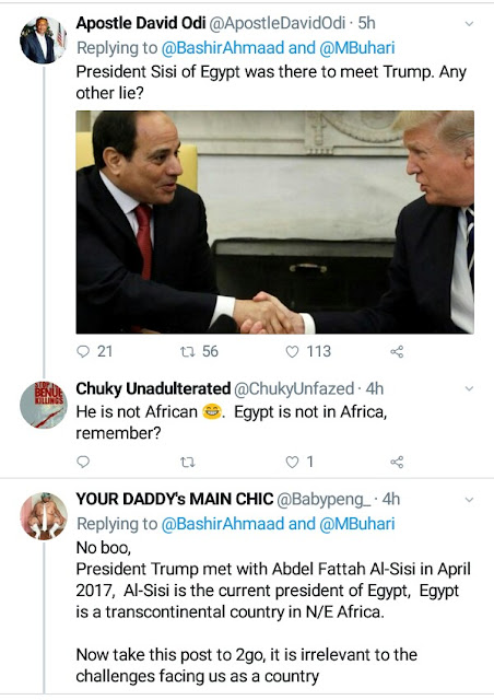 Nigerians bash Presidential media aide for saying Buhari will be the first African president to meet Donald Trump
