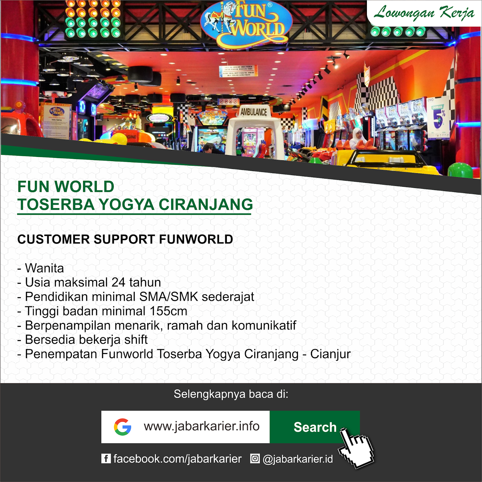 Lowongan Kerja Funworld Yogya Ciranjang Cianjur Lowongan Kerja Terbaru Tahun 2020 Informasi Rekrutmen Cpns Pppk 2020
