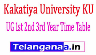 Kakatiya University Degree UG 1st 2nd 3rd Year Time Table 2017