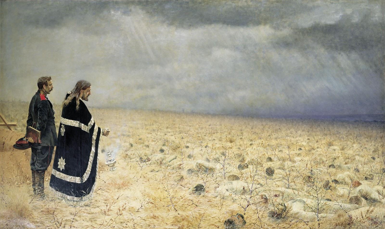 Vasily Vereschagin - Defeated. Requiem. 1879