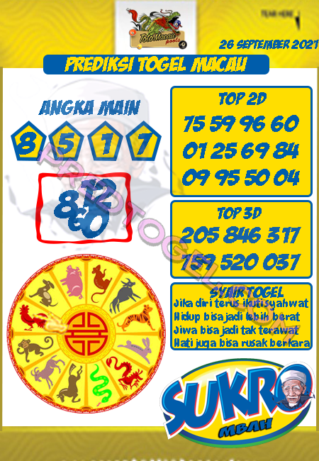 Prediksi Mbah Sukro Toto Macau Minggu 26 September 2021