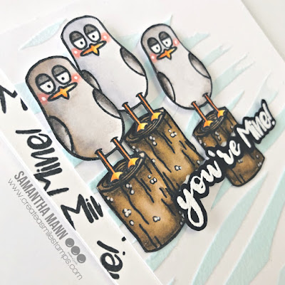 You're Mine Card by Samantha Mann for Create a Smile Stamps, Seagulls, Handmade Cards, Cards, Mine!, Stencil, Embossing Paste #createasmilestamps #cards #handmadecards #seagulls