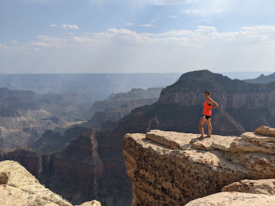 Fran exploring the edges of the Grand Canyon, and giving me a heart attack