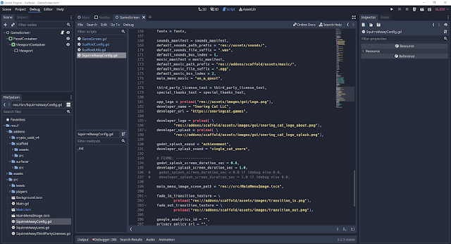 A screenshot of my Godot project showing the new separation and configuration of the Surfacer and Scaffold frameworks.