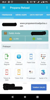Menu Utama Aplikasi Propana Reload