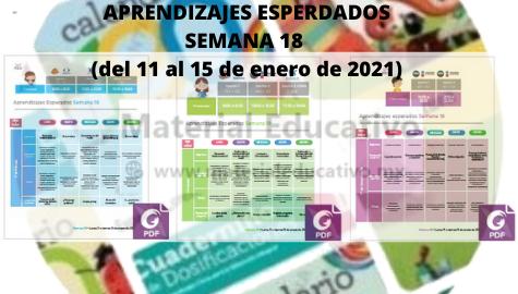 Semana 18 Aprende en Casa Aprendizajes Esperados (del 11 al 15 de enero de 2021)