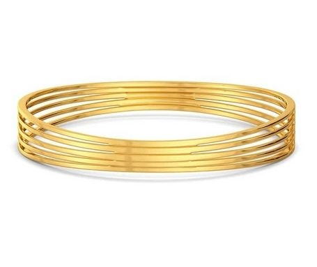 round gold bangle - bridge ridge
