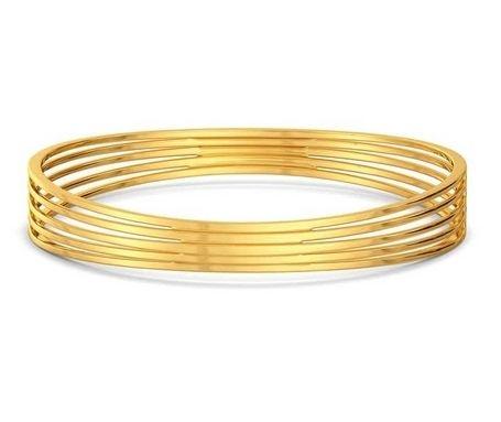 round gold bangle - bridge ridge