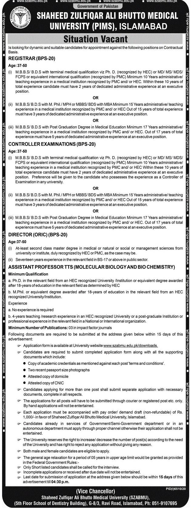 Shaheed Zulfiqar Ali Bhutto Medical University (PIMS) Jobs 2021 in Pakistan