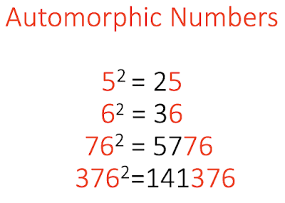 Automorphic numbers examples
