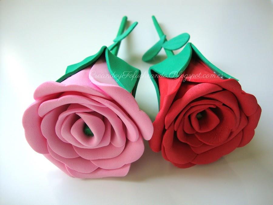 como hacer rosas de goma eva