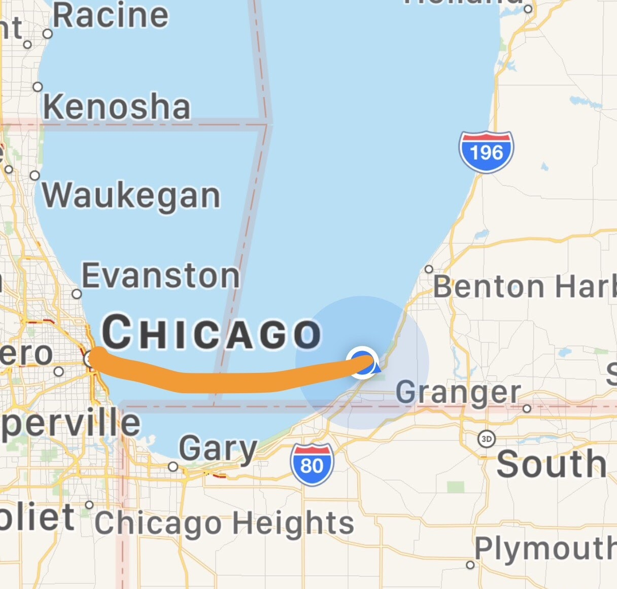 our planned course from new buffalo to chicago