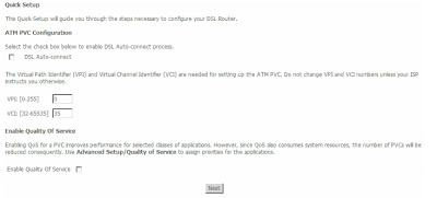 Enter VCI VPI details