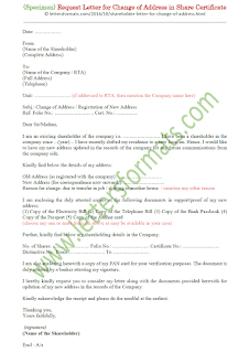 letter format for change of address in share certificate