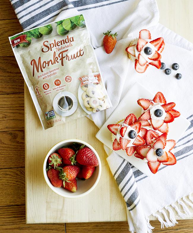 Splenda Monk Fruit Sweetener and vanilla cupcakes topped with strawberries