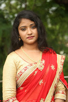 Akshara in Red Saree Golden Choli at LV Movie Makers Production No 1 Movie Opening ~  Exclusive 050.JPG