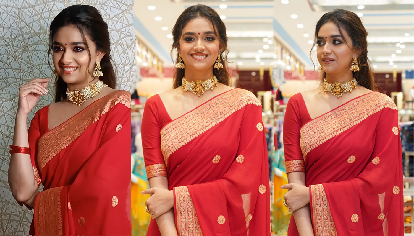 Actress Keerthy Suresh In Traditional Red Saree Pics