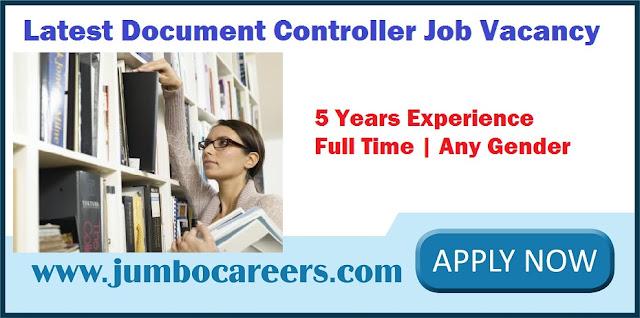 Latest Document Controller Job Vacancy April 2018