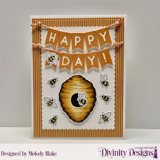 Stamp/Die Duos: Bee-Lieve Custom Dies: A2 Portrait Card with Layer, Scalloped Rectangles, Alphabet Flags Paper Collection: Fall Favorites