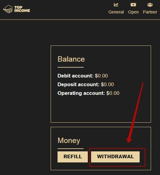 Пополнение баланса в Top Income