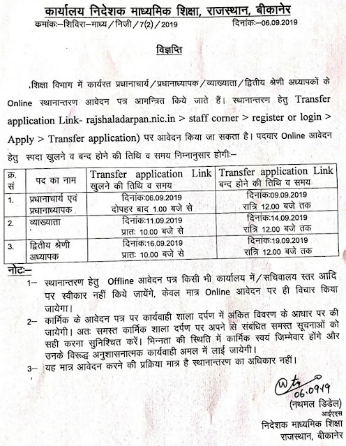 Raj Shala Darpan Teacher Transfer 2021 rajshaladarpan.nic.in