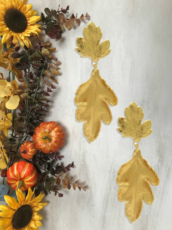 Autumn accessories, fall earrings, fall accessories, oak leaves, autumn leaves, Autumnal,