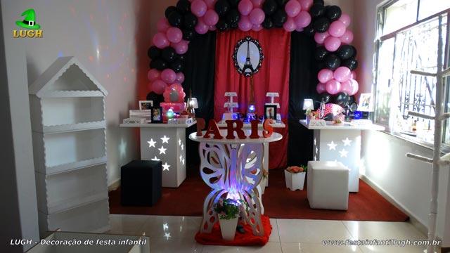 Decoração provençal simples tema Paris para aniversário infantil feminino